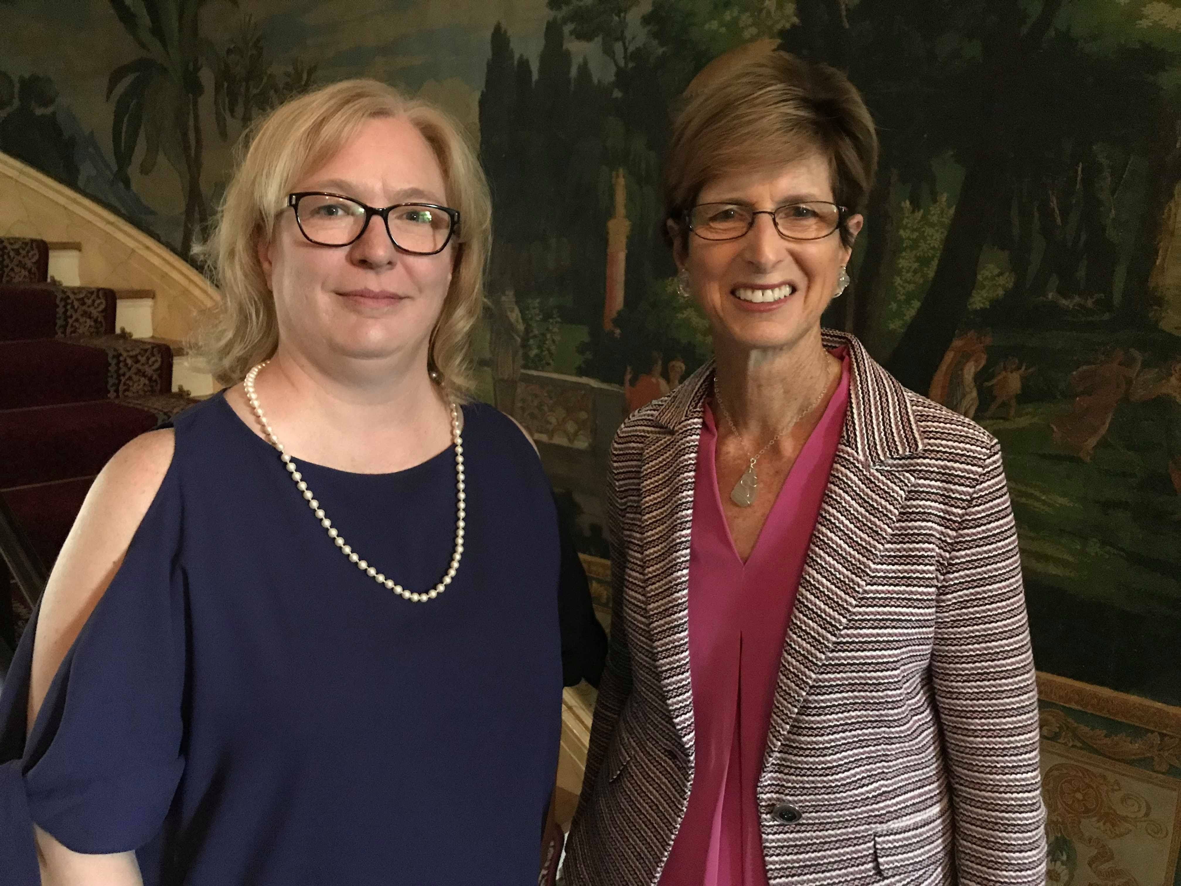 Former New Jersey Gov. Christine Todd Whitman poses for a photo with The Hermitage Chief of Museum Operations Amy Williams on Wednesday in Nashville, Tenn.