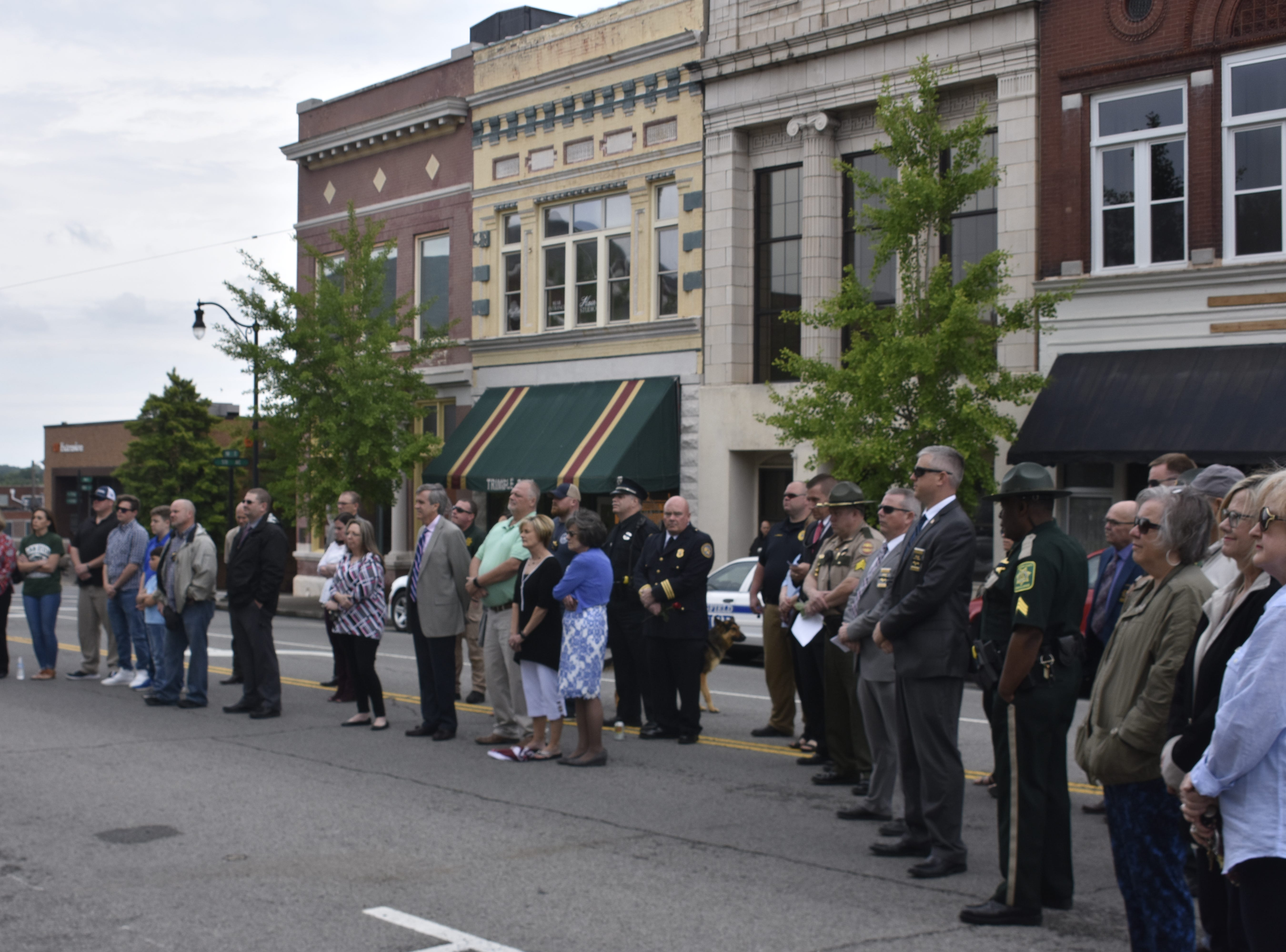A crowd gathers at the county's annual law enforcement memorial ceremony, coinciding with National Police Week, on Wednesday, May 15.