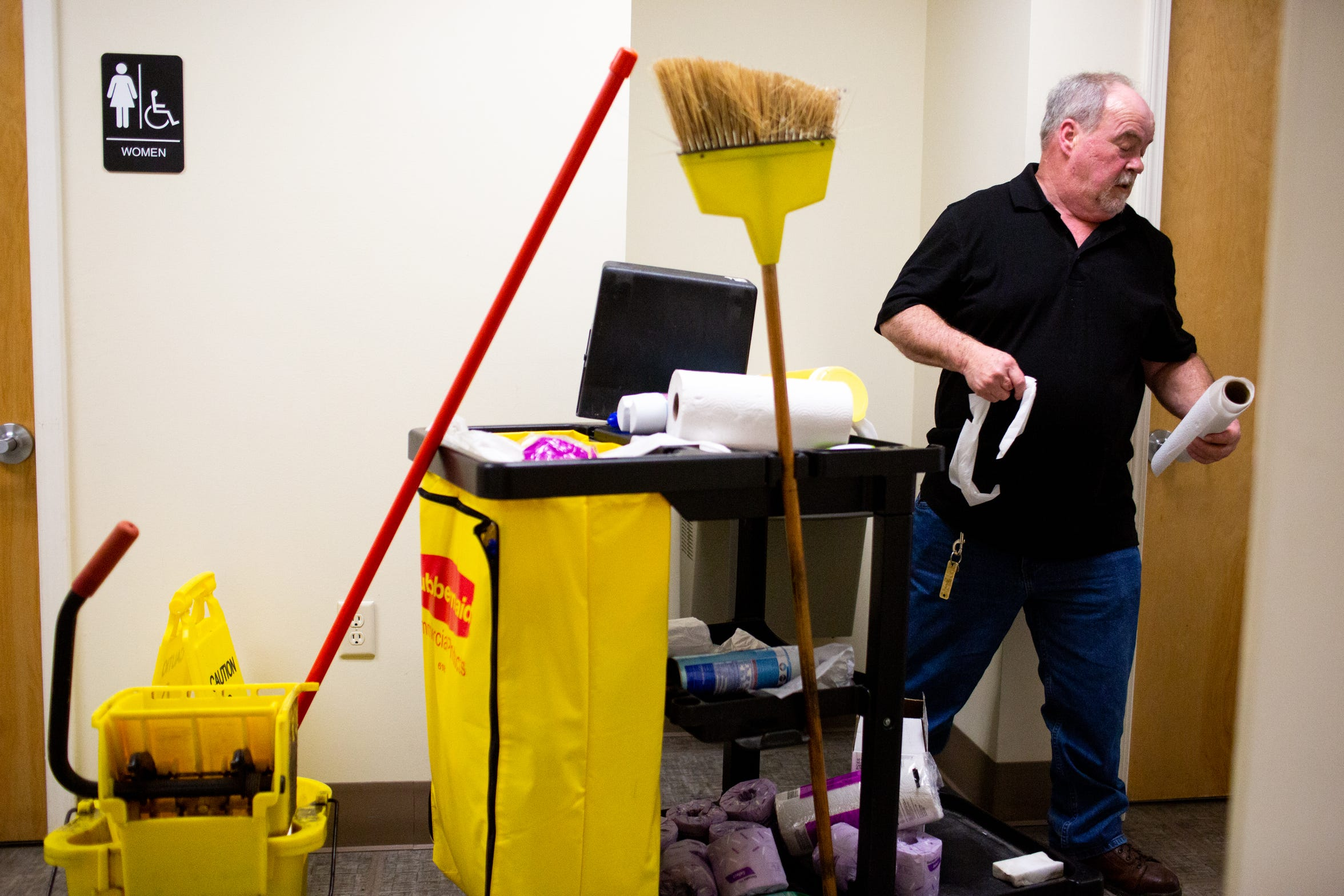 Larry Elmore works as a janitor at Upper Cumberland Human Resource Agency in Cookeville, Tenn. The job has restored a semblance of normalcy to a life once mired in chaos.