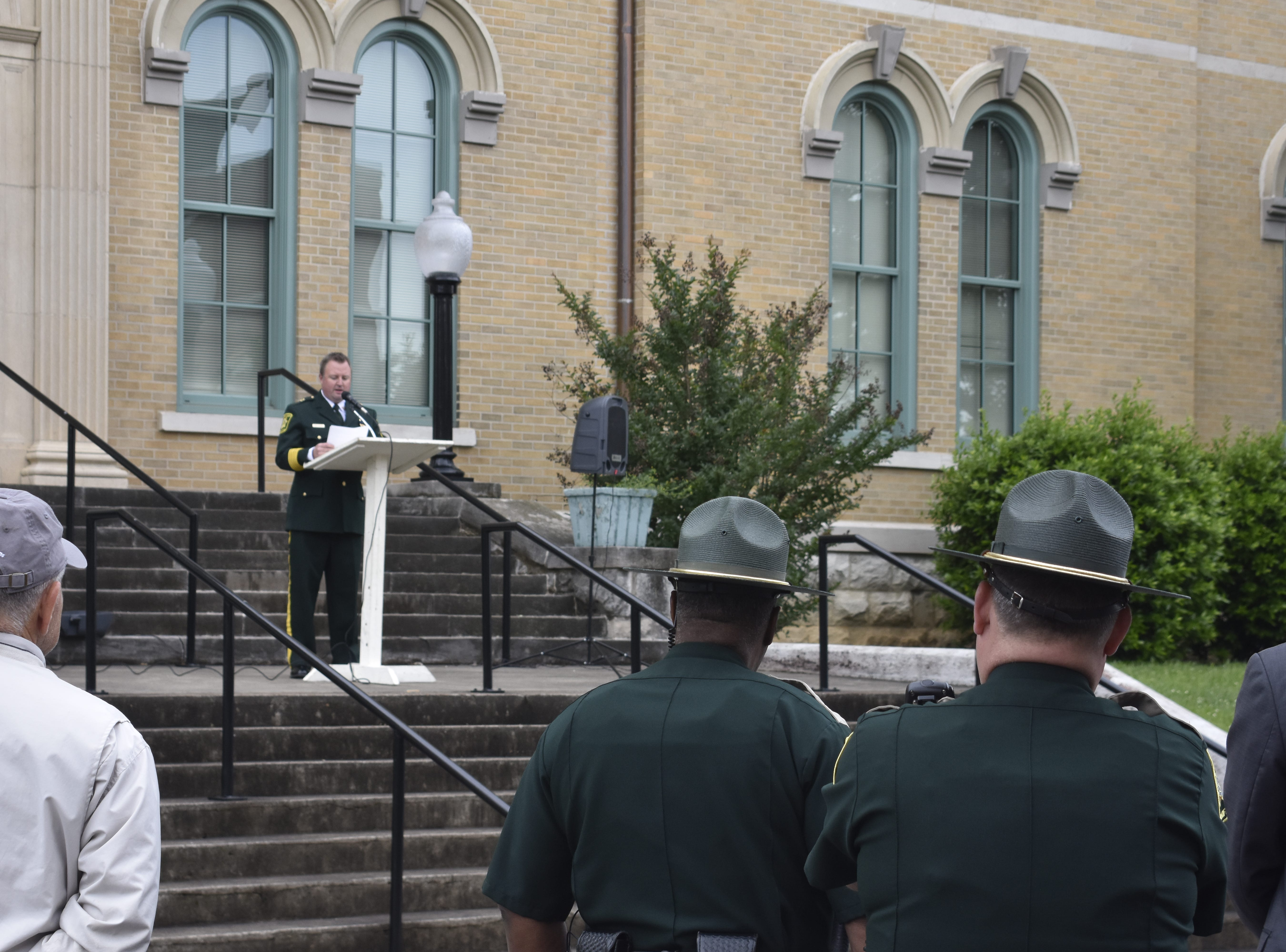 Robertson County Sheriff Mike Van Dyke speaks at the county's annual law enforcement memorial ceremony, coinciding with National Police Week, on Wednesday, May 15.