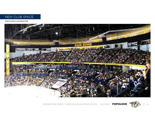 An artist's rendering shows some expanded seating the Predators plan to offer at a renovated Bridgestone Arena.