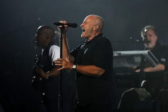 Phil Collins performs on opening night prior to the evening session on Day One of the US Open at the USTA Billie Jean King National Tennis Center on August 29, 2016, in the Flushing neighborhood of the Queens borough of New York City.