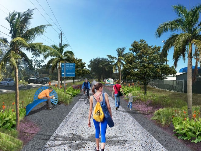 Rendering of bike and walking path alongside Terry Street in Bonita Springs, subject to final design.