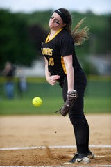 Passaic County Technical Institute vs. West Milford in the Passaic County Tournament softball final at Wayne Hills High School on Wednesday, May 15, 2019. WM pitcher #10 Jessica Perucki.