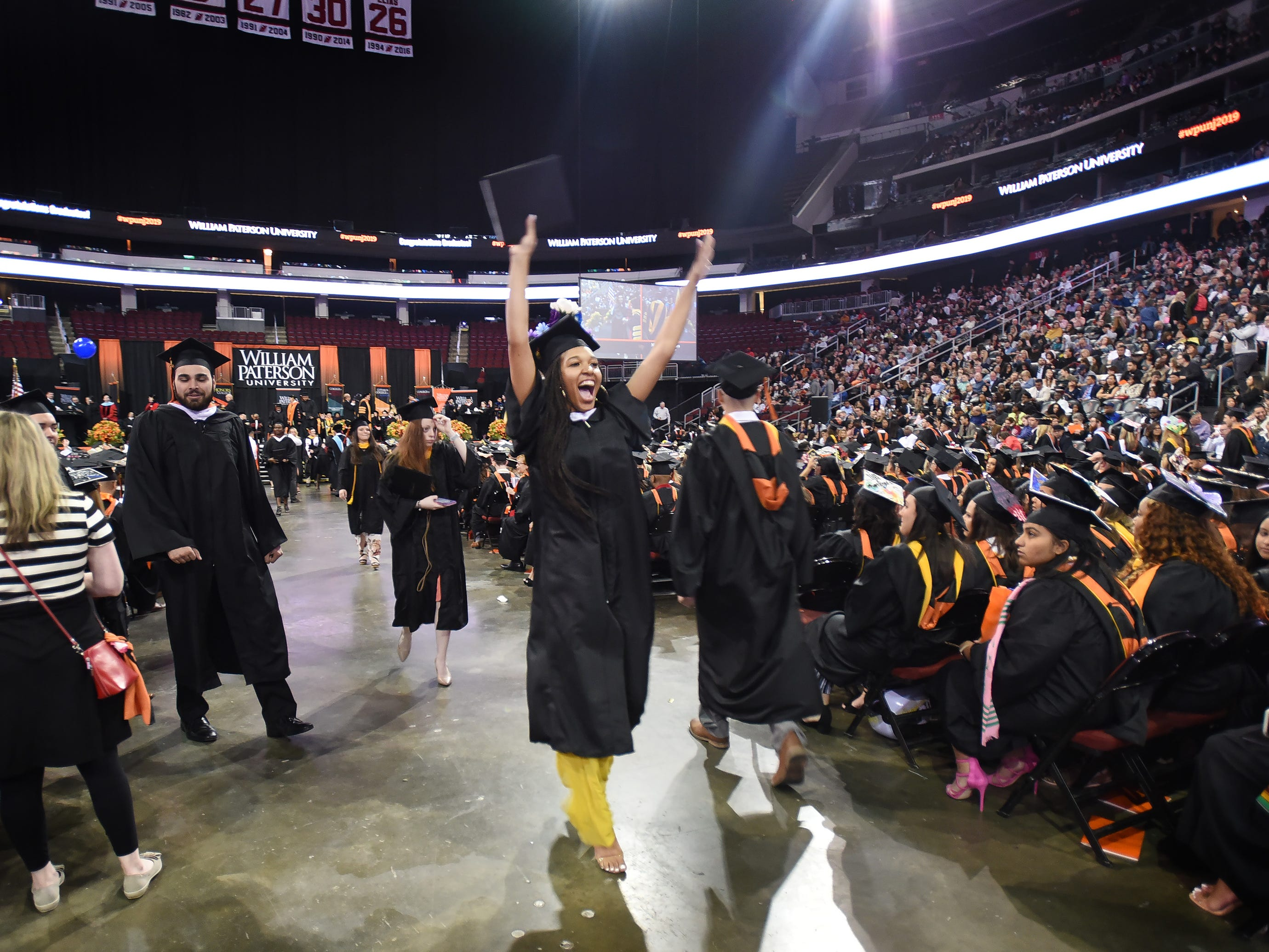 Daijah Smalls of Clifton, Major in Sports Management, reacts after receiving her degree during the William Paterson University 2019 Commencement at the Prudential Center in Newark on 05/15/19.