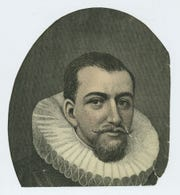 In this file image released by the Museum of the City of New York, an undated lithograph depicting a 17th century man who is purported to be Henry Hudson is shown.