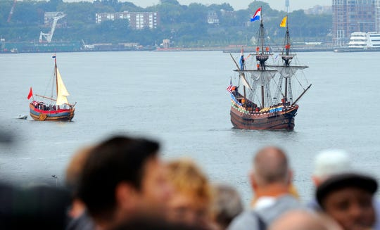 A replica of Henry Hudson's ship Half Moon makes its way up the Hudson River during a ceremony on Tuesday, Sept. 8, 2009 in New York in which Secretary of State Hillary Rodham Clinton and New York City Mayor Michael Bloomberg welcomed Dutch royals Willem-Alexander, Crown Prince of Orange, and his wife, Princess Maxima to New York for the 400th anniversary of Henry Hudson's voyage up the river that now bears his name.
