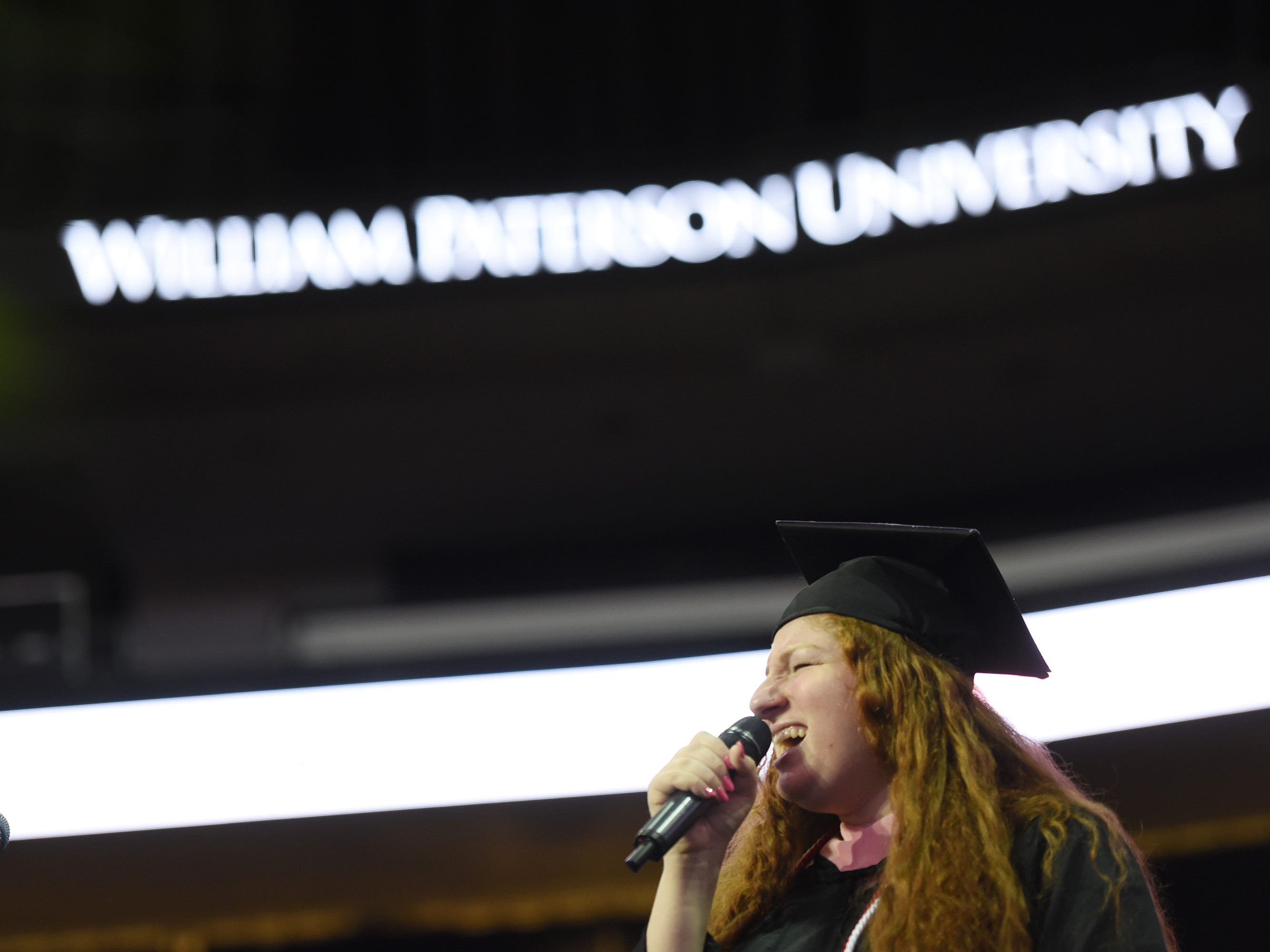Mollie Friedman, vocalist, Bachelor of Music candidate, sings the National Anthem during the William Paterson University 2019 Commencement at the Prudential Center in Newark on 05/15/19.
