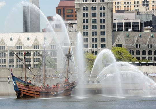 A replica of Henry Hudson's 1609 ship, The Half Moon, arrives at Corning Preserve in Albany, N.Y. on Friday, May 20, 2005.