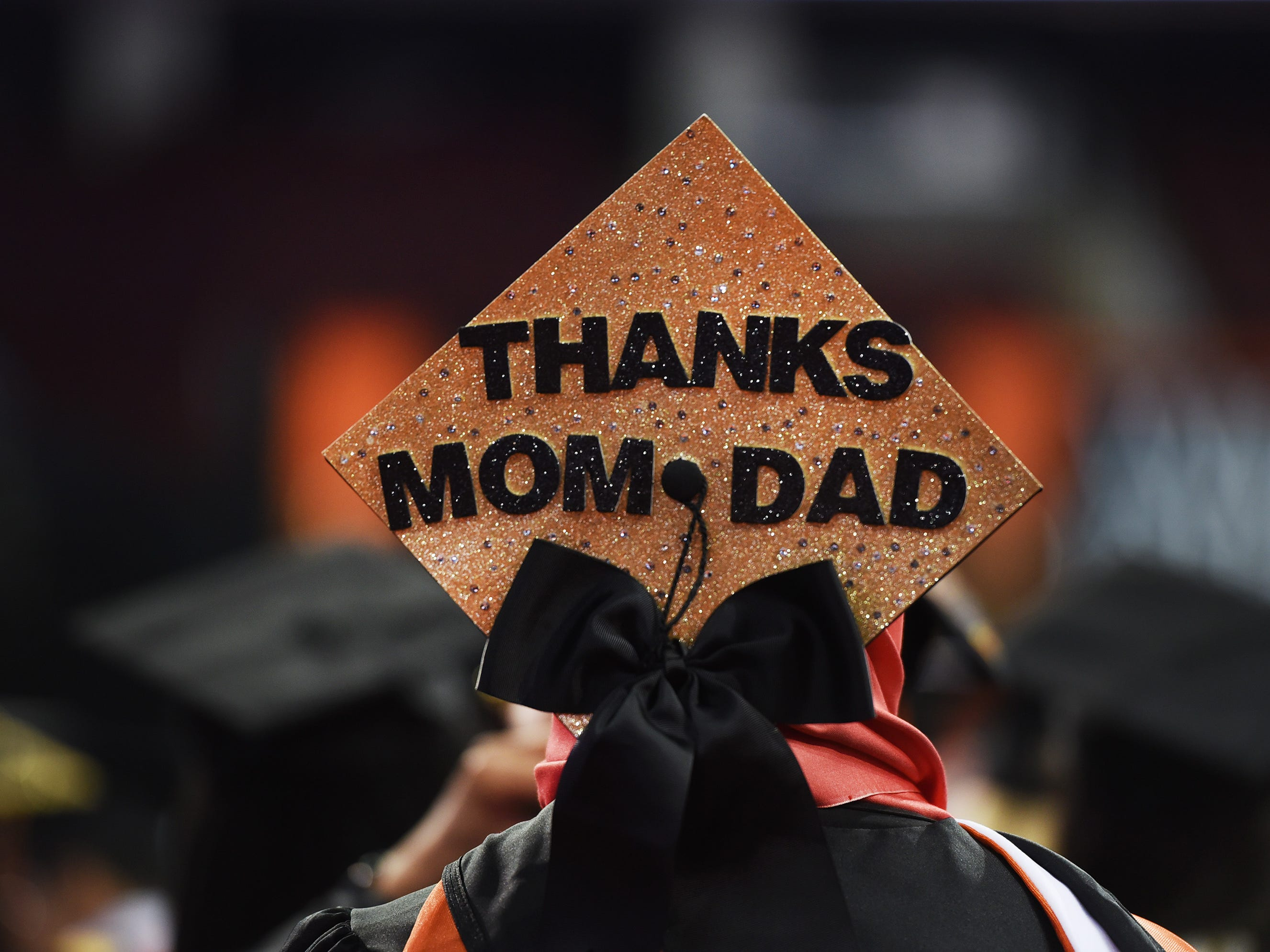 Close up of the cap belonging to Betul Kablan of Woodland Park, who is a Psychology Major, is seen during the William Paterson University 2019 Commencement at the Prudential Center in Newark on 05/15/19.
