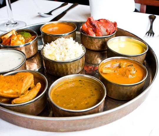 A platter of Indian food at Rudra Indian Bistro in Teaneck