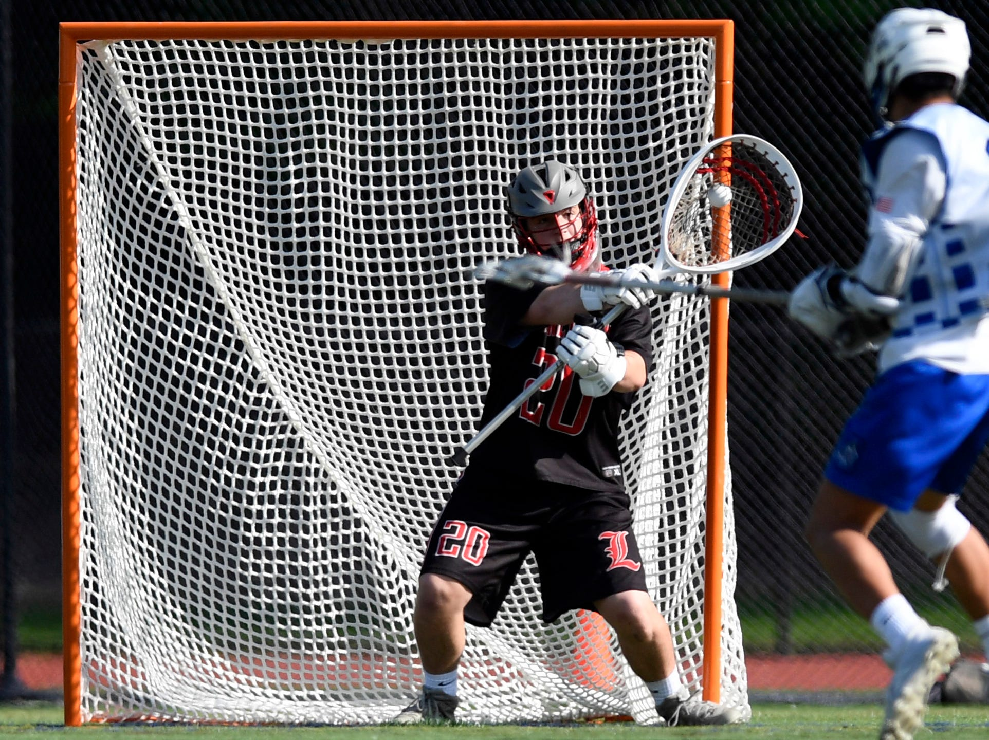 Lakeland goalie Matt Focarino makes a save against Demarest in the first half. Northern Valley Demarest defeated Lakeland 6-3 in the first round of the North Group 2 boys lacrosse tournament on Wednesday, May 15, 2019 in Demarest, NJ.