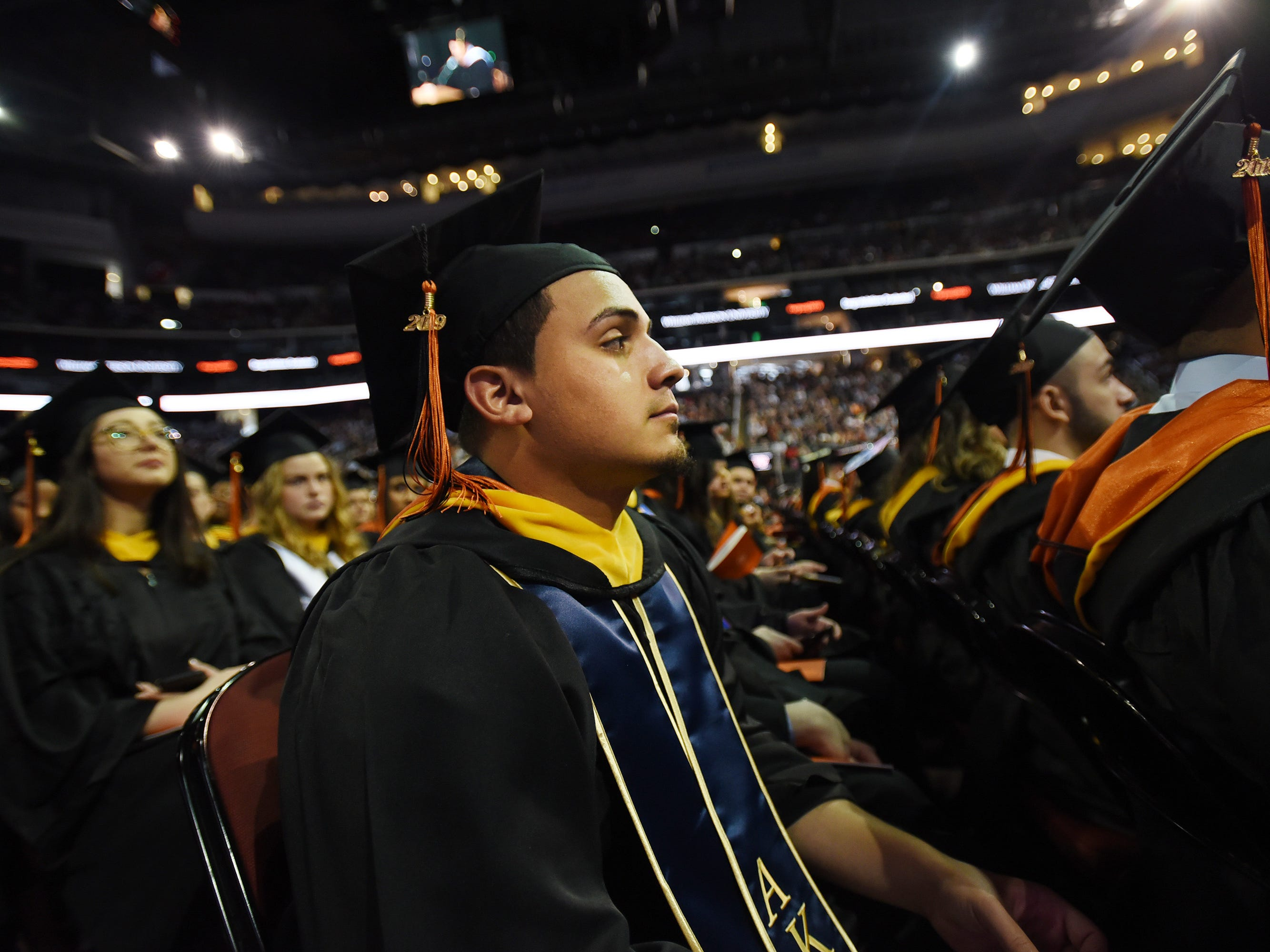 Javin Soto of Hawthorne, Major in Accounting Business, listens during the William Paterson University 2019 Commencement at the Prudential Center in Newark on 05/15/19.