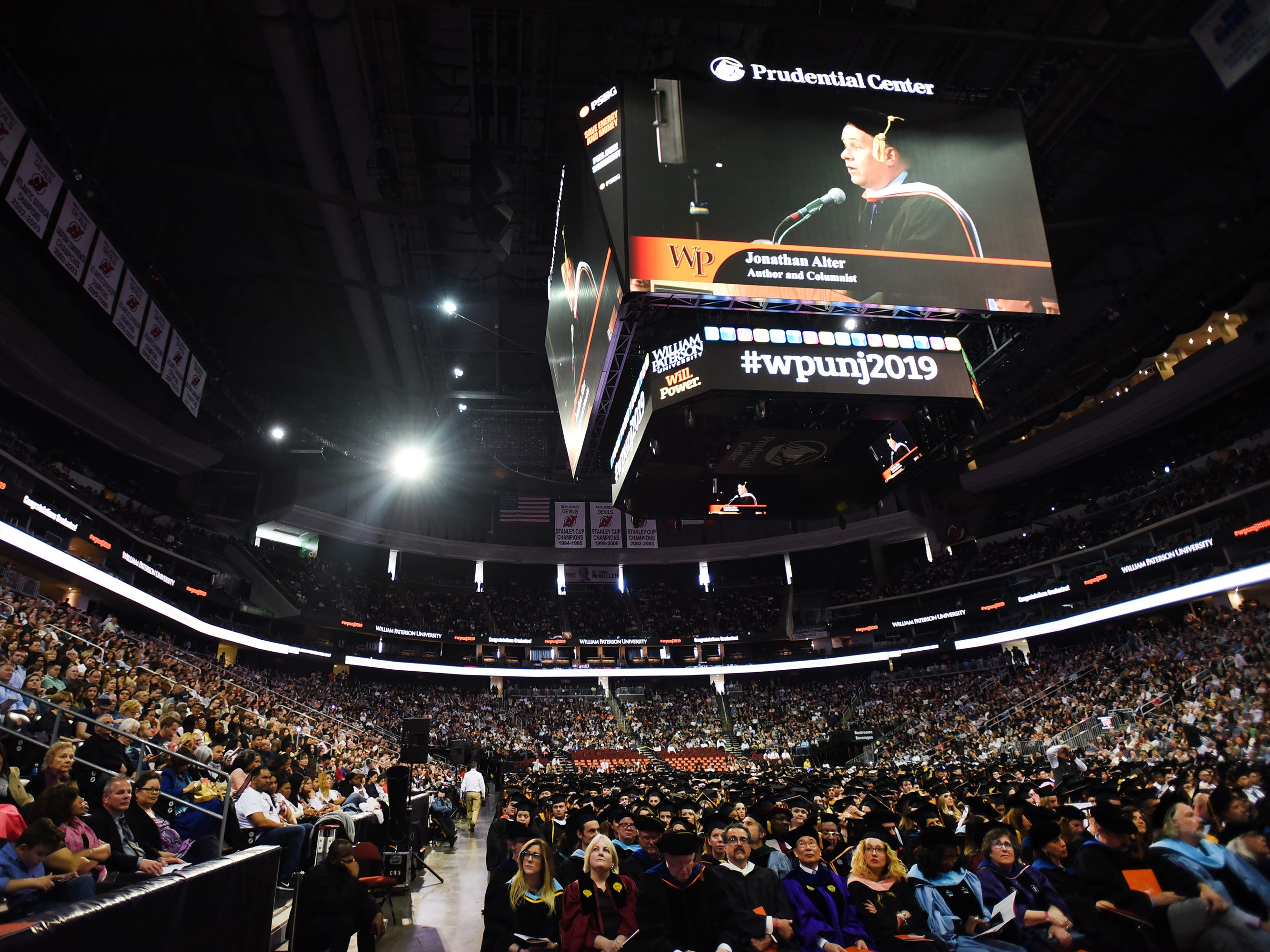 Keynote Speaker, Jonathan Alter, Author and Columnist, shown on the overhead screen as he gives a Commencement Address during the William Paterson University 2019 Commencement at the Prudential Center in Newark on 05/15/19.