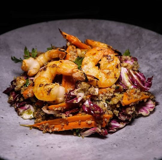 Qunioa bowl with shrimp is a popular brunch dish at The Hill in Closter