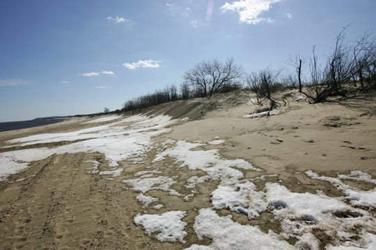 The Keansburg, N.J. beach near Point Comfort is shown on Monday, February 24, 2014.