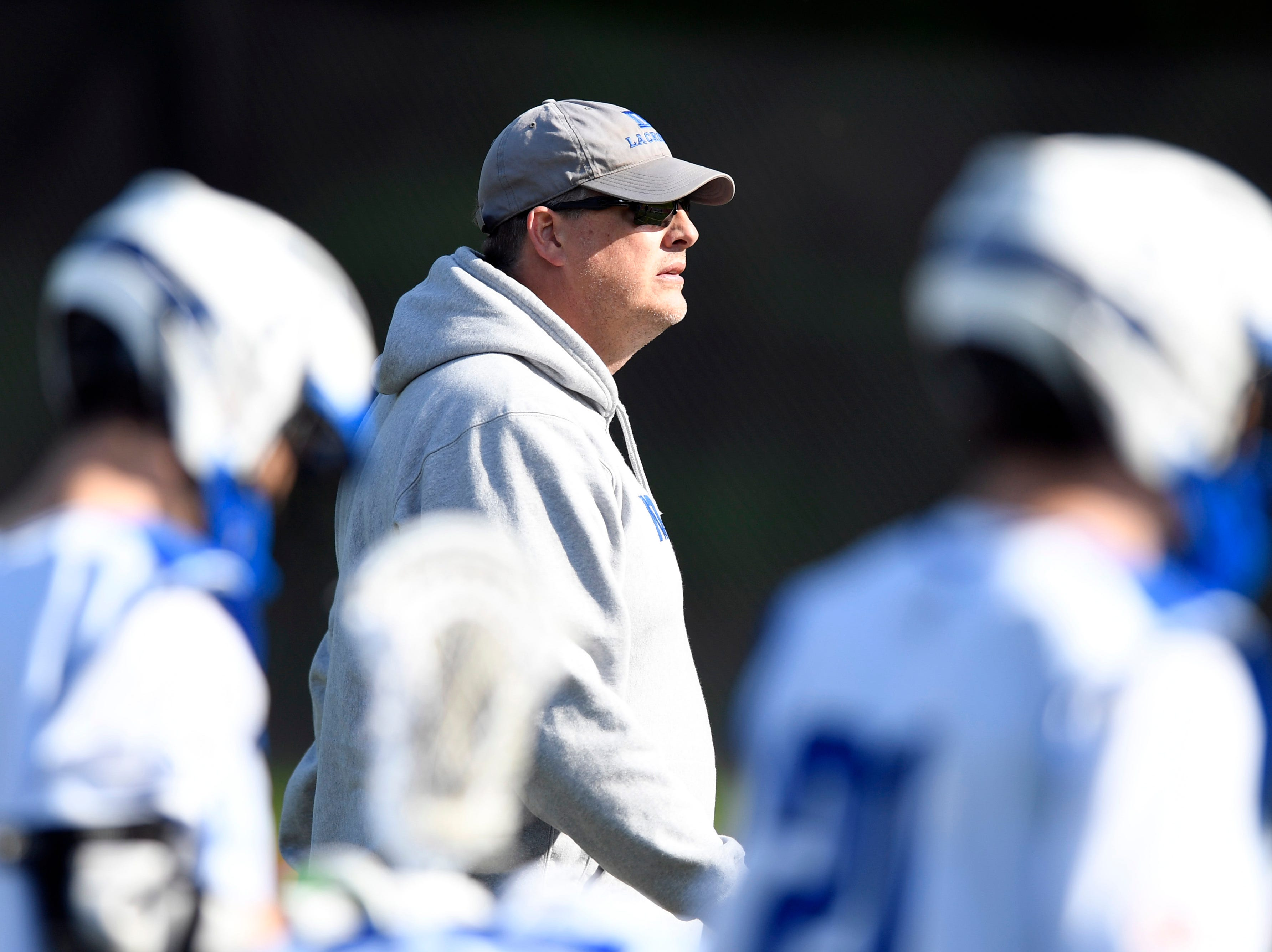 Demarest head coach Tony Mottola seen during a timeout. Northern Valley Demarest defeated Lakeland 6-3 in the first round of the North Group 2 boys lacrosse tournament on Wednesday, May 15, 2019 in Demarest, NJ.