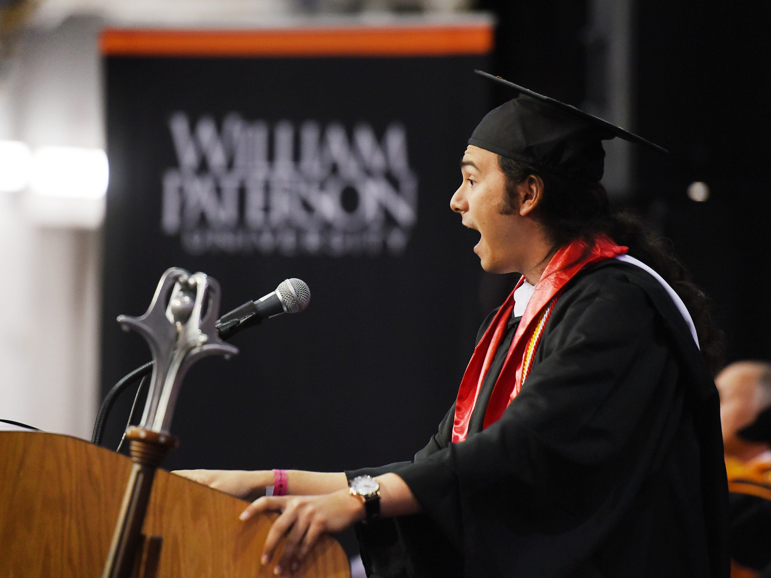 Kevin McKiernan, Bachelor of Arts candidate, Asian Studies and History, gives a Valedictory Address during the William Paterson University 2019 Commencement at the Prudential Center in Newark on 05/15/19.
