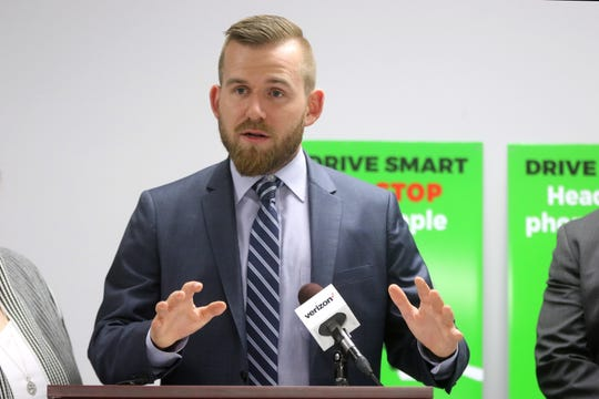 Elmwood Park Mayor, Daniel Golabek, speaks at a press conference, Wednesday, about the importance of pedestrian safety. May 15, 2019