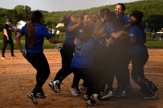 Passaic County Technical Institute vs. West Milford in the Passaic County Tournament softball final at Wayne Hills High School on Wednesday, May 15, 2019. PCTI celebrates defeating West Milford.