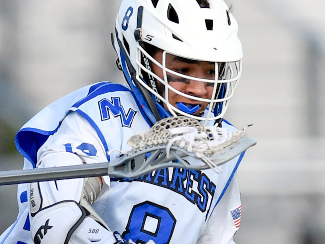 Demarest's Sam Platin gets the ball knocked out of his stick against Lakeland. Northern Valley Demarest defeated Lakeland 6-3 in the first round of the North Group 2 boys lacrosse tournament on Wednesday, May 15, 2019 in Demarest, NJ.