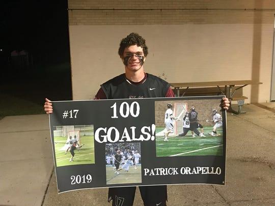 Patrick Orapello of Wayne Hills lacrosse is the program's first player to score 100 goals.