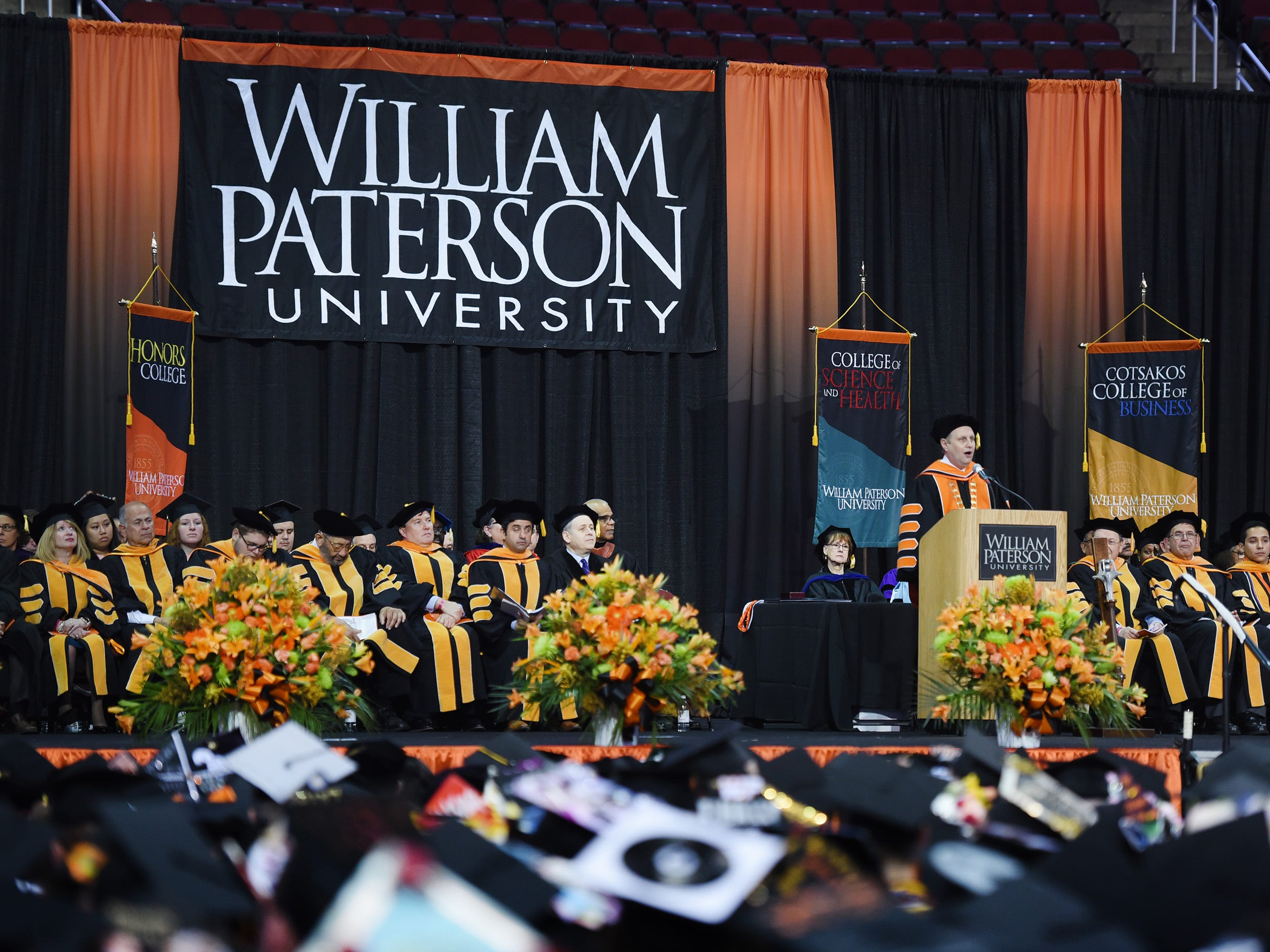 Richard J. Helldobler, PhD, President of the University, gives a a speech during the William Paterson University 2019 Commencement at the Prudential Center in Newark on 05/15/19.