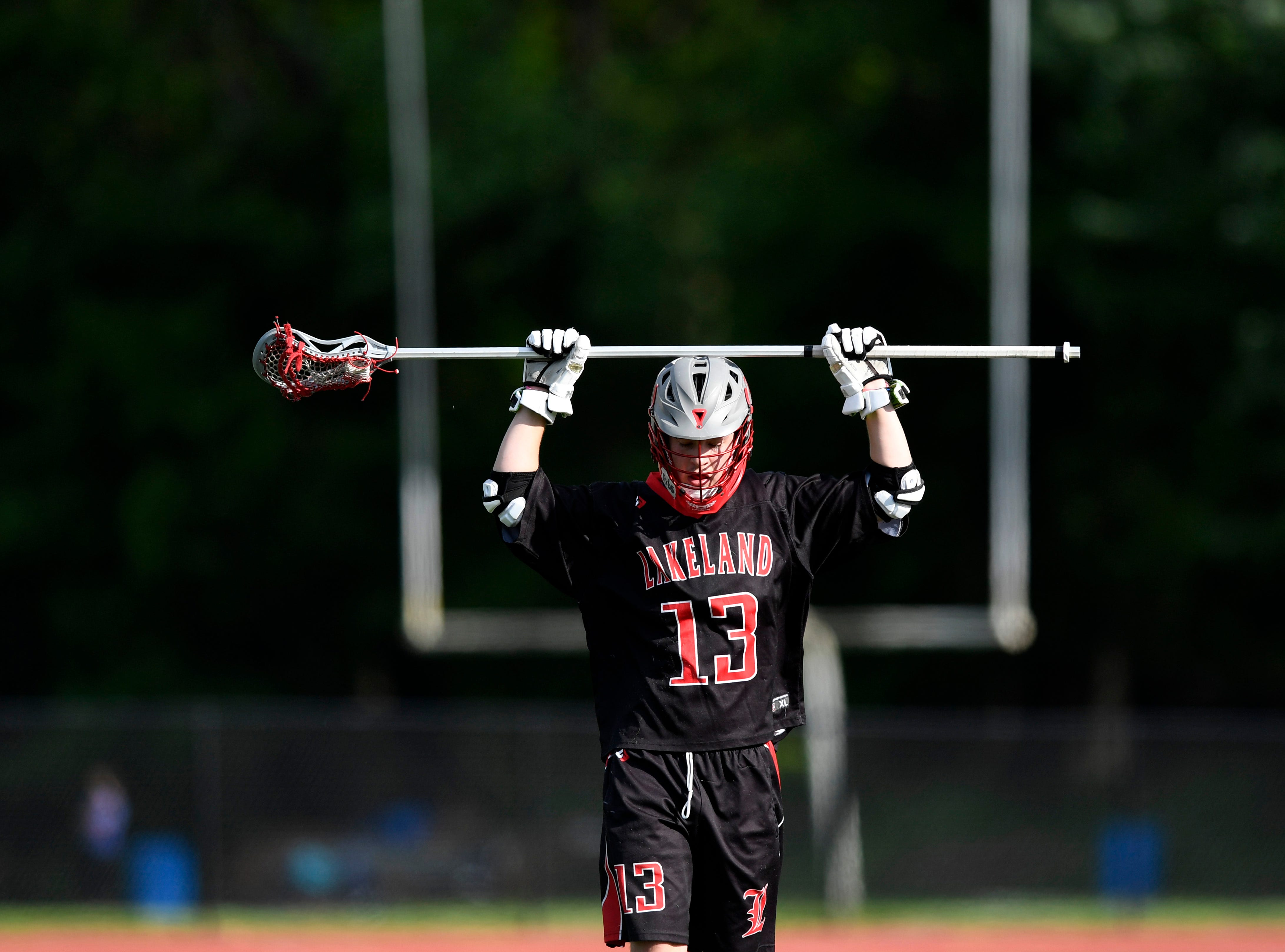 Lakeland's Jake Devore on the field during his team's loss. Northern Valley Demarest defeated Lakeland 6-3 in the first round of the North Group 2 boys lacrosse tournament on Wednesday, May 15, 2019 in Demarest, NJ.