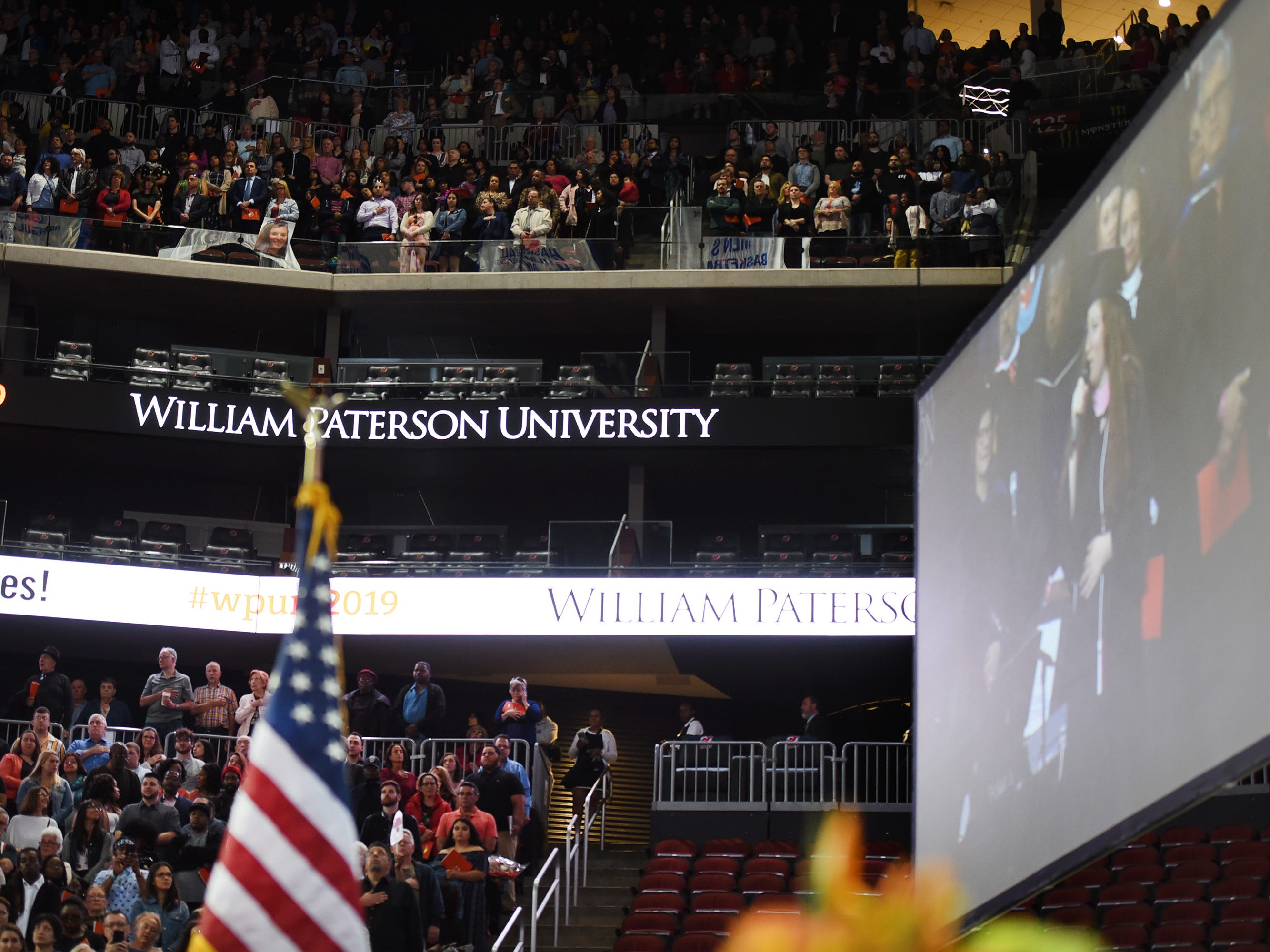 The National Anthem is sung at the beginning of the William Paterson University 2019 Commencement at the Prudential Center in Newark on 05/15/19.