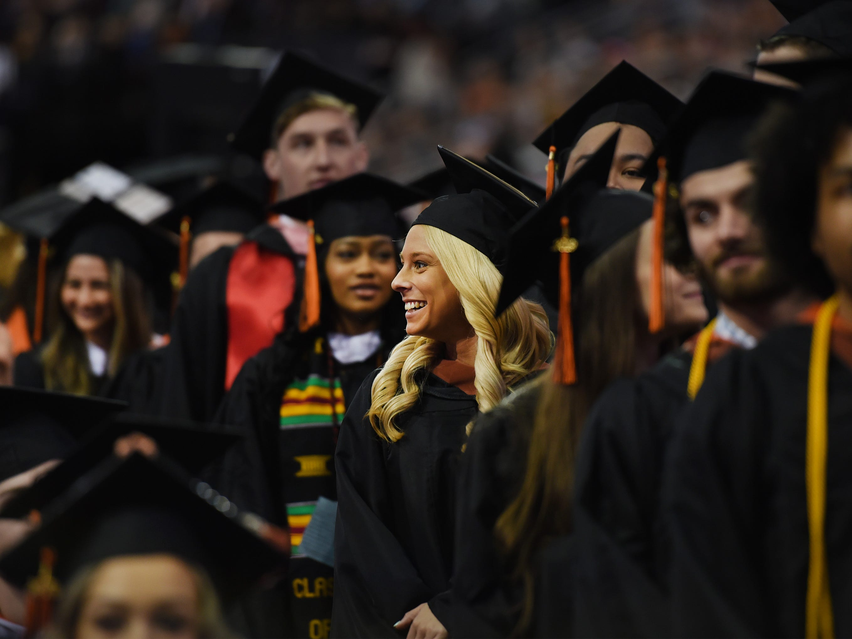 Graduates stand in line to receive their degrees during the William Paterson University 2019 Commencement at the Prudential Center in Newark on 05/15/19.