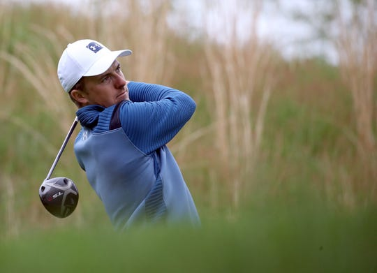 May 14, 2019; Farmingdale, NY, USA; Jordan Spieth plays his shot from the fourth tee during a practice round for the PGA Championship golf tournament at Bethpage State Park - Black Course. Mandatory Credit: Peter Casey-USA TODAY Sports