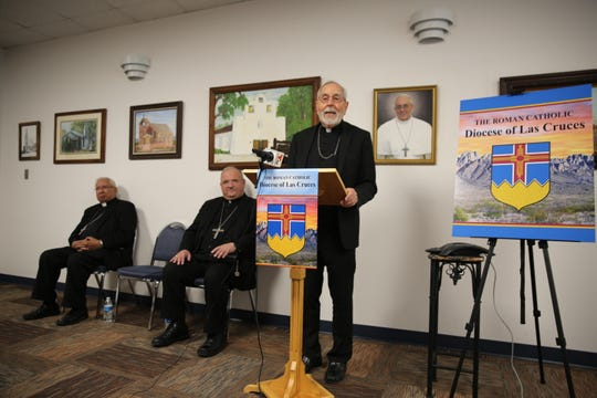 The Most Rev. Gerald Kicanas welcomes Bishop Peter Baldacchino to Las Cruces, seated center, as he was announced the new bishop of The Diocese of Las Cruces on May 15, 2019. Bishop Emeritus Ricardo Ramírez, who led the diocese from 1982-2013, sits at far left.