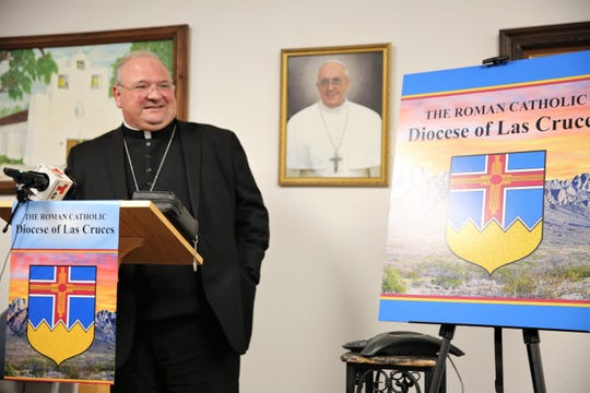 Bishop Peter Baldacchino smiles as he is welcomed as the new head of the Diocese of Las Cruces on May 15, 2019.