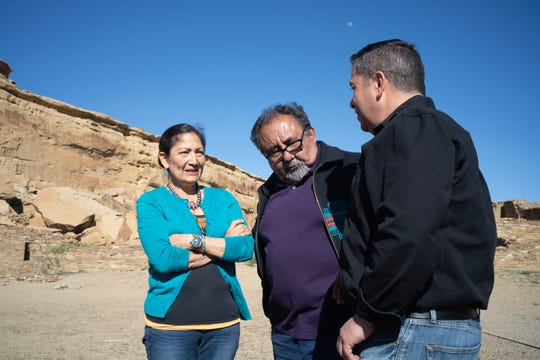 U.S. Reps. Deb Haaland, D-N.M., Raul Grijalva, D-Ariz., and Ben Ray Luján, D-N.M., at Chaco Culture National Historical Park.