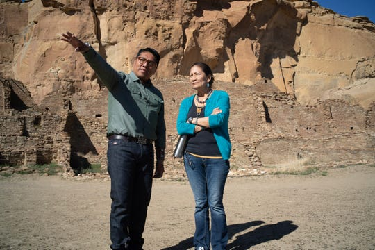 Brian Vallo talks with U.S. Rep. Deb Haaland, D-N.M., at Chaco Culture National Historical Park.