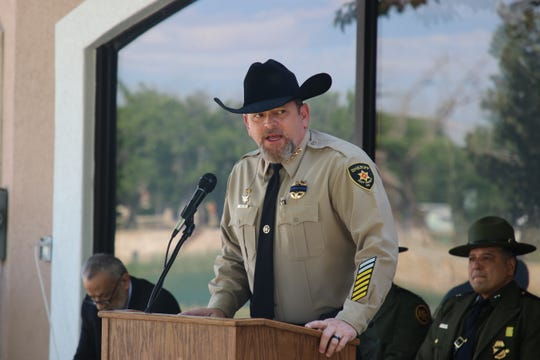 Eddy County Sheriff Mark Cage gives opening remarks on May 15 during the 2019 Eddy County Law Enforcement Memorial in Carlsbad.