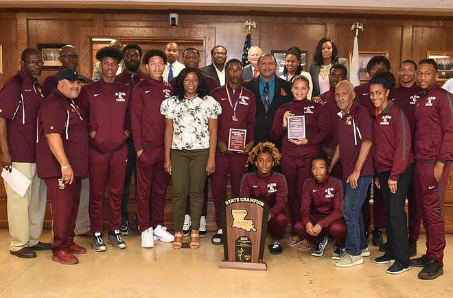 J.S. Clark Leadership Academy track team honored by the city of Opelousas for their first place finish in the state track meet.