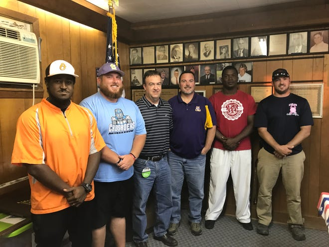 The coaches from American Legion District 7 met Monday night in Opelousas to discuss the 2019 season, which begins later this month. Coaches who attended the meeting include (from left) Joshua Walker, Opelousas General Health Systems Warriors; Matt Standiford, St. Landry Bank Indians; Chris Quebedeaux, Crowley Millers; Ben Talley, DeRidder Post 27 Tigers; Lorenz Piper, Alexandria-Perennial Sports; and Jacob Faulk, Gulf Coast Bank 29ers.