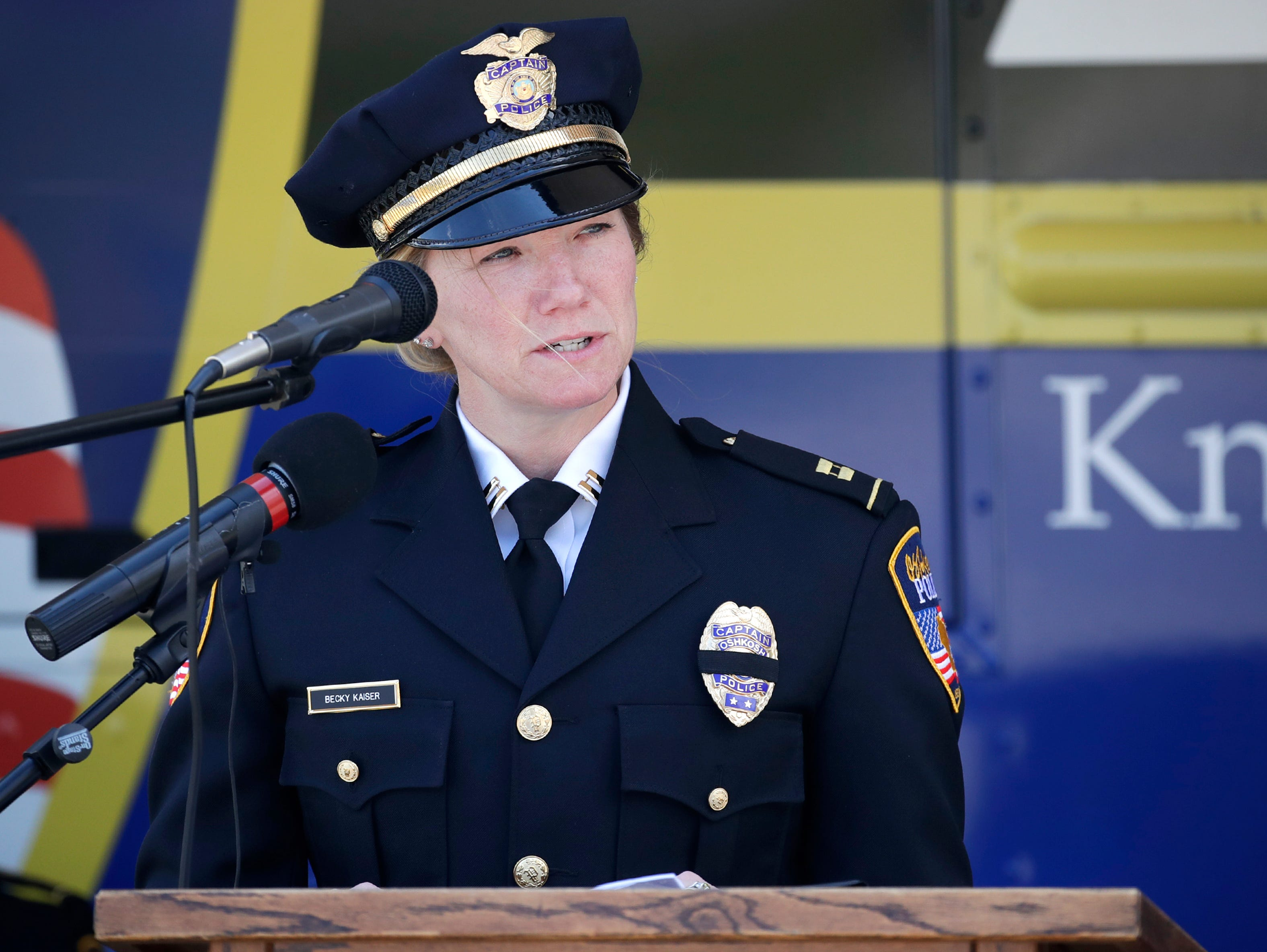 Captain Becky Kaiser with the Oshkosh Police Department welcomes the community to their Law Enforcement Memorial Ceremony Wednesday, May 15, 2019, at the Oshkosh Police Department in Oshkosh, Wis. Danny Damiani/USA TODAY NETWORK-Wisconsin