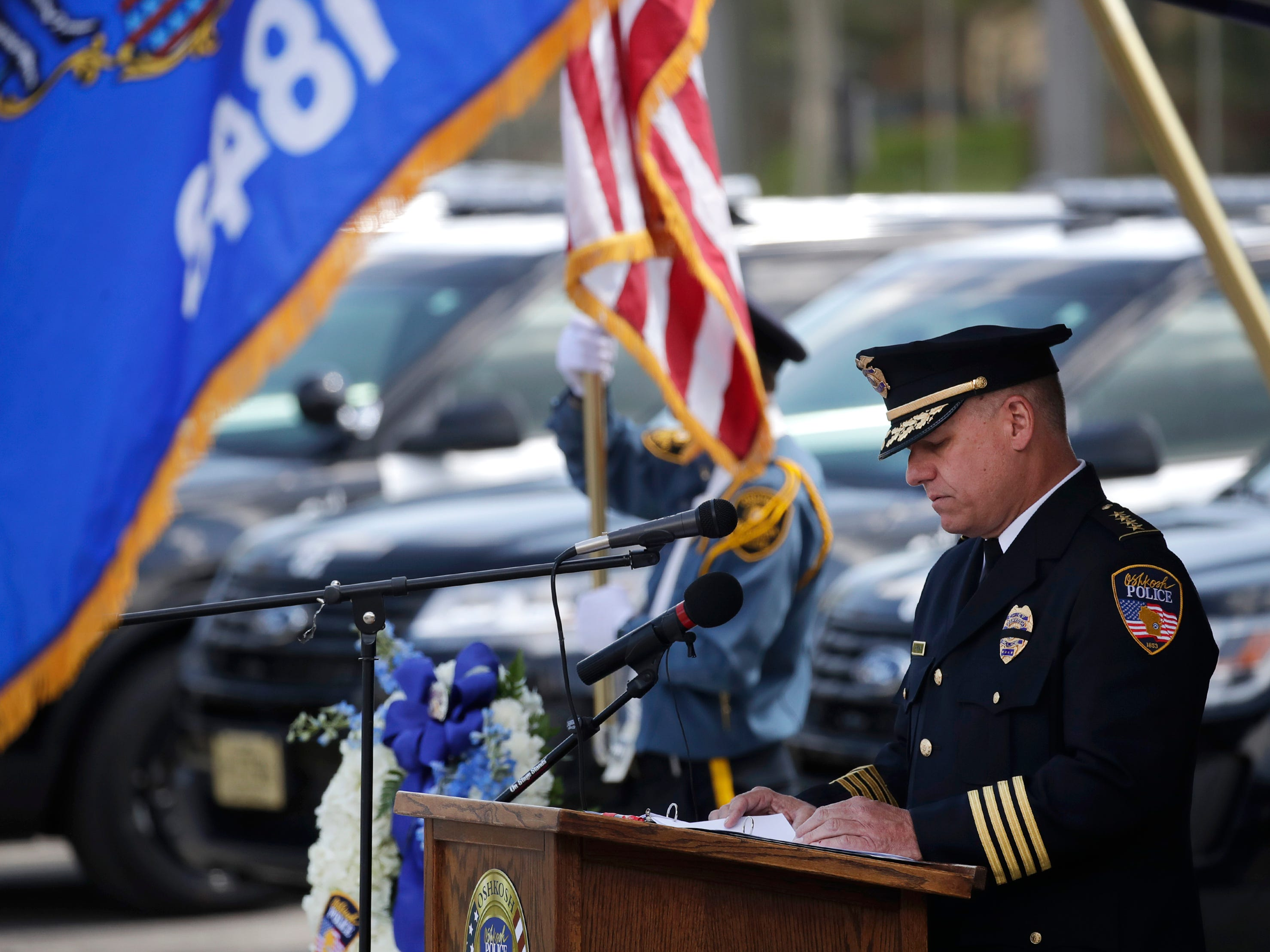 Oshkosh police chief Dean Smith speaks during their Law Enforcement Memorial Ceremony Wednesday, May 15, 2019, at the Oshkosh Police Department in Oshkosh, Wis. Danny Damiani/USA TODAY NETWORK-Wisconsin