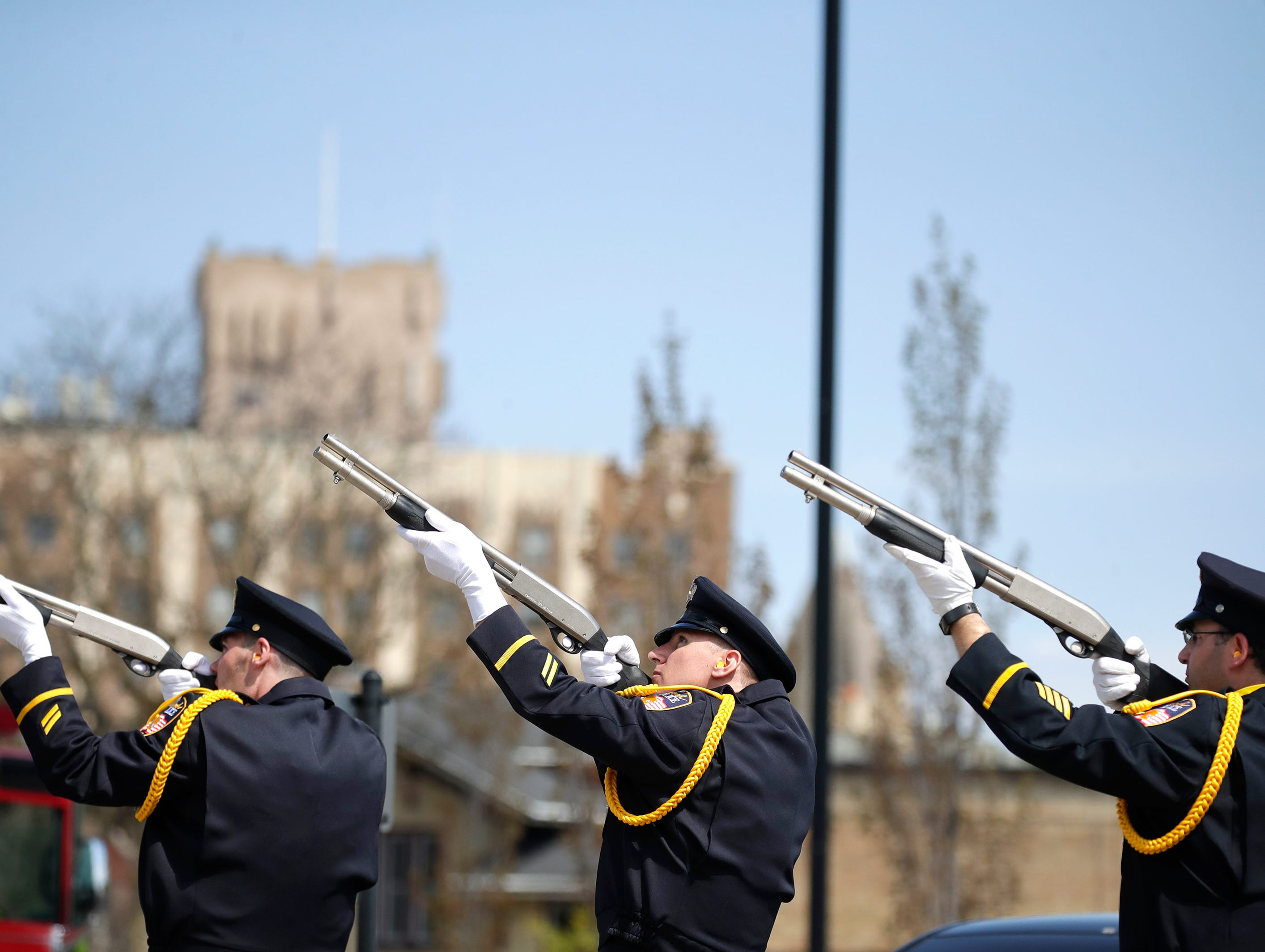 The Oshkosh Police Department Honor Guard do their traditional salute during their Law Enforcement Memorial Ceremony Wednesday, May 15, 2019, at the Oshkosh Police Department in Oshkosh, Wis. Danny Damiani/USA TODAY NETWORK-Wisconsin
