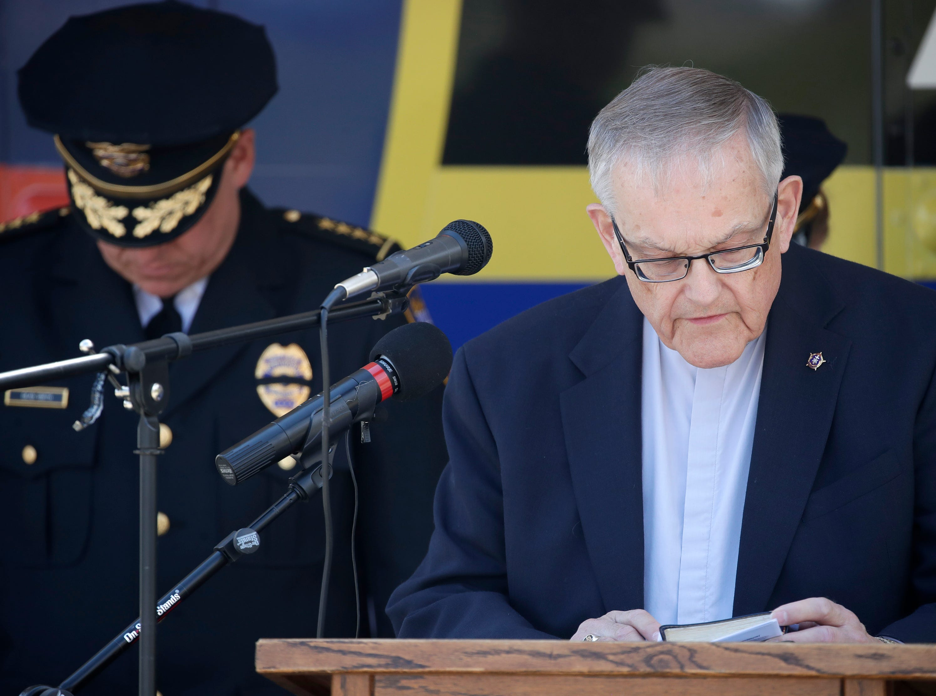 Pastor Ed Smith gives the invocation during the Oshkosh Police Department's Law Enforcement Memorial Ceremony Wednesday, May 15, 2019, at the Oshkosh Police Department in Oshkosh, Wis. Danny Damiani/USA TODAY NETWORK-Wisconsin
