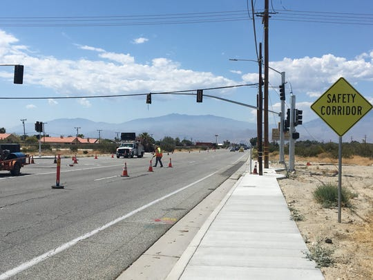 A signal is being installed on Palm Drive at Camino Aventura in Desert Hot Springs.