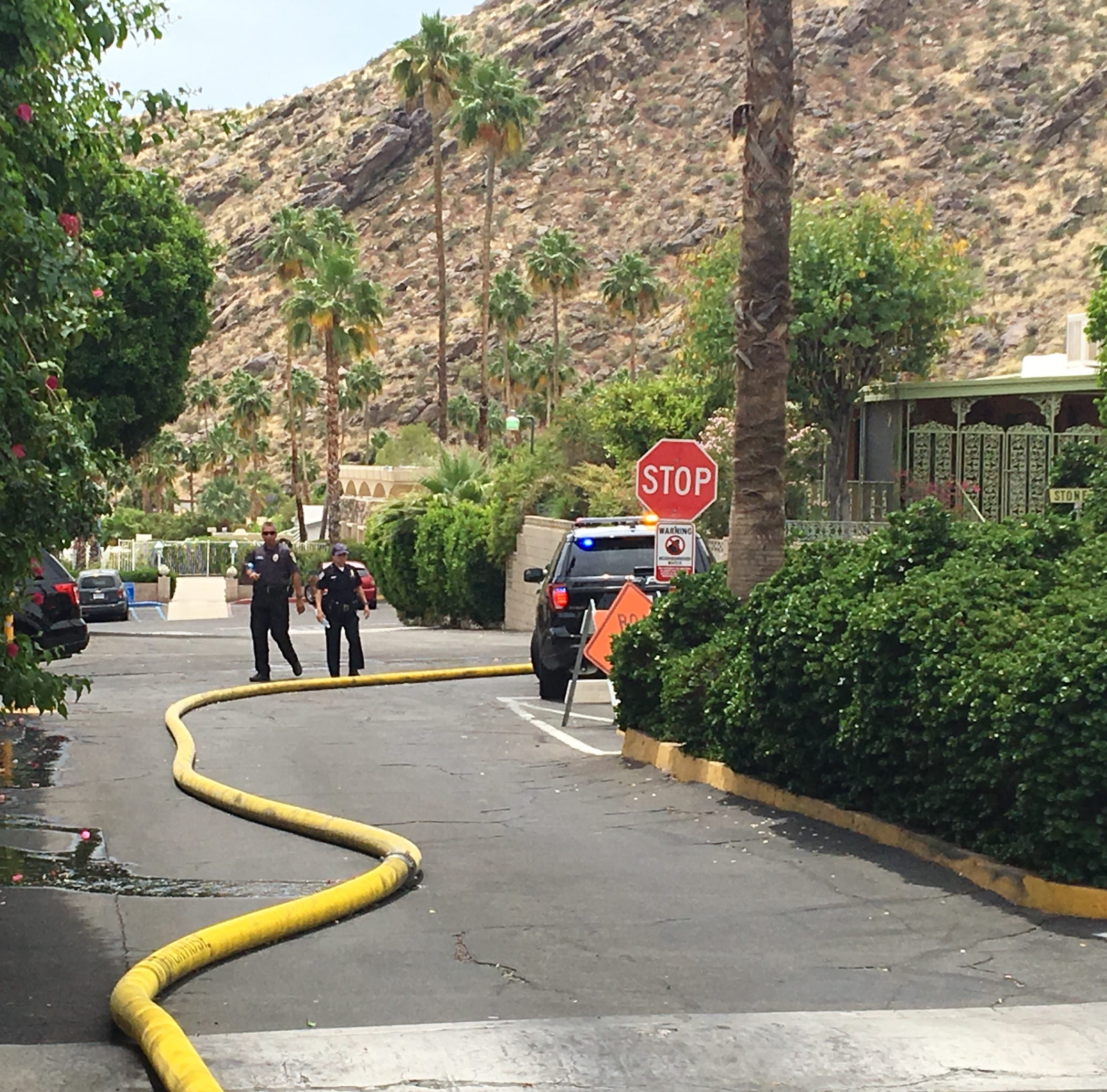 Blaze at Palm Springs mobile-home park doused by firefighters. One residence was severely damaged