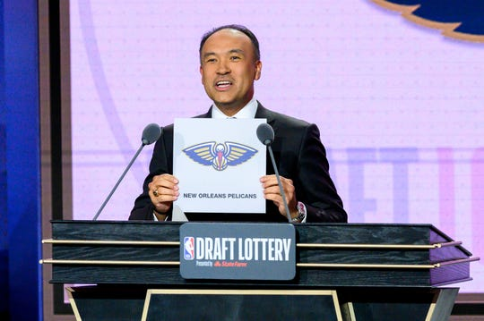 NBA deputy commissioner Mark Tatum reveals the number one pick during the 2019 NBA Draft Lottery. It did not go to the Phoenix Suns.