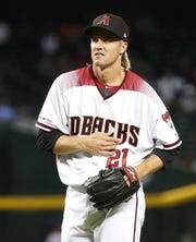 Arizona Diamondbacks starting pitcher Zack Greinke (21) reacts after a pitch Pittsburgh Pirates during the eighth inning. at Chase Field in Phoenix, Ariz. May 15, 2019. He pulled himself out of the game from an apparent injury.