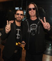 Ringo Starr and Todd Rundgren celebrate Ringo's birthday at the Capitol Records Building on July 7, 2014 in Los Angeles.