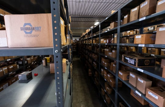 Boxees of tools line the shelves inside Suburban Bolt & Supply Co.'s warehouse in Port Huron.