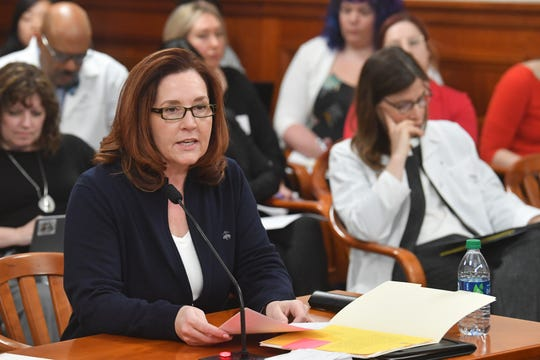 State Rep. Pamela Hornberger, R-Chesterfield Township, testifies before the House Families, Children, and Seniors Committee on April 24, 2019.