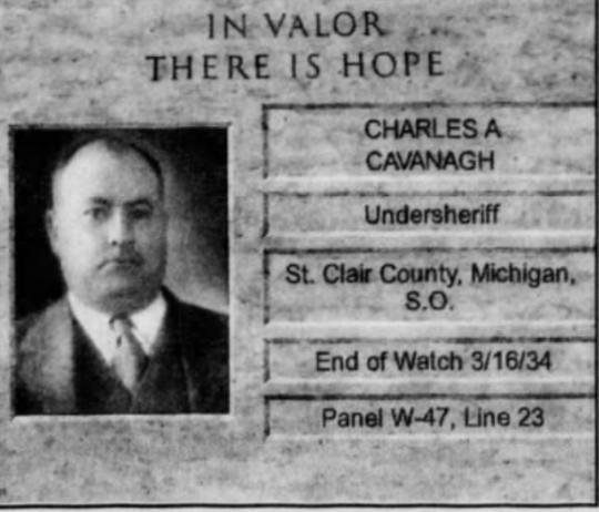 Undersheriff Charles A. Cavanagh was killed March 16, 1934.